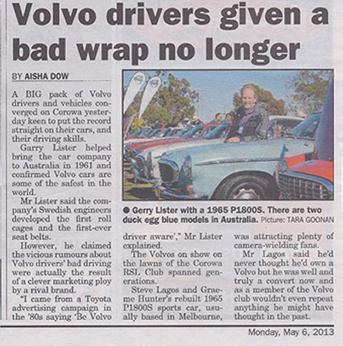 """The Border Mail"" interviewed Gerry Lister<br />on the Sunday at the Volvo Car display"