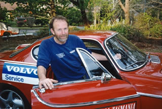 Gerry Lister in the Volvo P1800